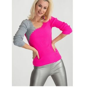 Scallop neckline pink & gray ribbed top-RP